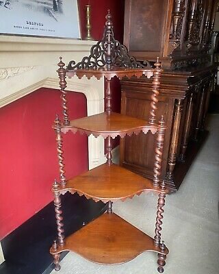 Victorian Mahogany What Not Stand Four Teir Waterfall Barley Twist Supports