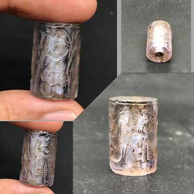 Excellent Ancient Roman Empire Amethyst stone cylinders seal bead