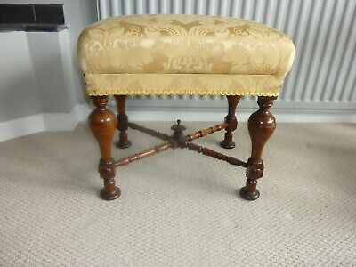 Antique  quality victorian  mahogany upholstered   foot stool