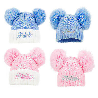Double Pom Pom hat contrast Baby boy girl Assorted Knitted 0-12m
