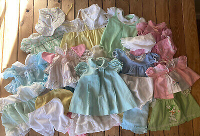 Lot Of 28 Vintage baby Girl clothes Dresses bonnets bloomers Multi Colors H4