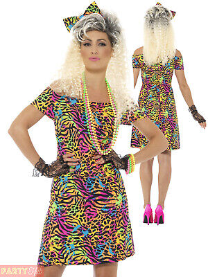 Ladies 80s 1980s NEON FANCY DRESS Dance Hen Party Outfit Costume Adult Eighties