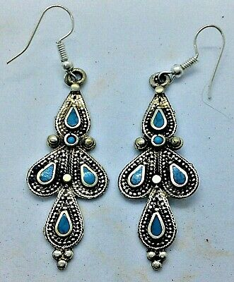 Ancient Near Eastern Silver Earrings With Blue Gems - Very Rare 18Th Century Coa
