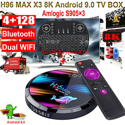 H96 MAX X3 4+128G 8K Android 9.0 Tastatur Smart TV BOX Dual WIFI BT 3D HD Filme