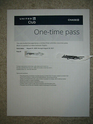 1 Pass for United Club One Time Pass EXP 8/28/2021