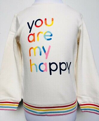 Girls Sweatshirt Jumper Ex Mothercare Little Bird Rainbow Happy Age 2-10 Years