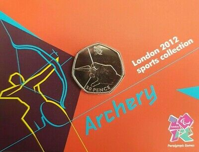 Olympic ARCHERY 50p coin Royal Mint carded BU(see description)!!!l3