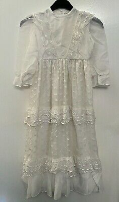 Girls Vintage Mary Gavriel White Long Lace Dress Formal Party Age 6-7 Approx