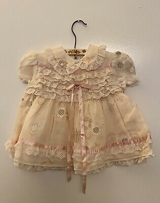 Vintage Girls Baby Dress Pink Frilly Floral Age 0-6 Months
