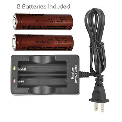 Kastar Dual Charger with 2 x INR3100 20A 3.7V 3100mAh Rechargeable Li-ion