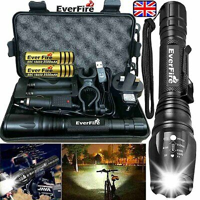 350000LM Zoomable T6 LED Rechargeable Torch Flashlight Work Light Headlamp Bike*