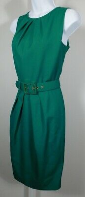 Escada Womens Teal Knit Sleeveless Asymmetric Cowl Neck Sheath Dress Size 6 //36