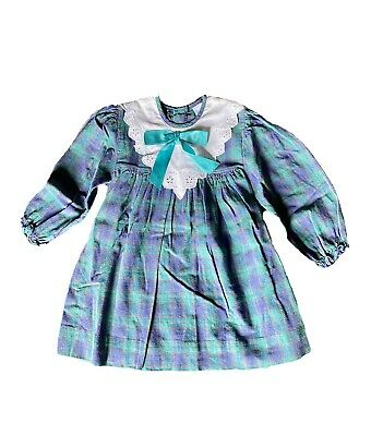Vintage Ladybird Little Girls Dress Blue And Green Check Age 2-3