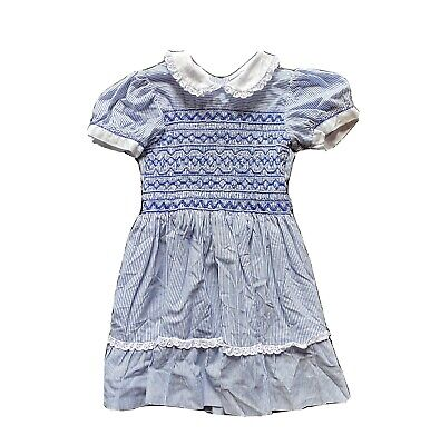 Vintage Little Girls Party Dress Blue With Embroidery Age 3-4yrs
