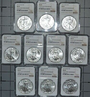 10 x 2016 NGC MS69 AMERICAN SILVER EAGLES! VERY NICE COINS!