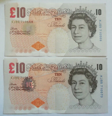 Bank of England: 2 x £10 Pounds banknotes in AUNC condition. KJ55 710569