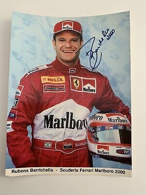 Rubens Barrichello Ferrari Marlboro Official postcard F1 2000 hand signed photo