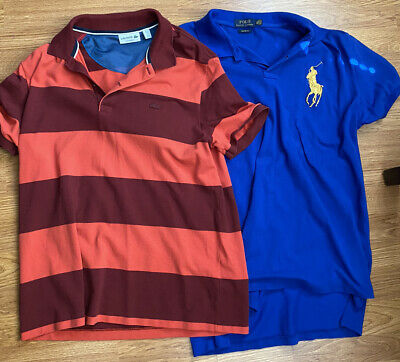 Pair (2) of Polo Ralph Lauren Lacoste Shirts Men Size XL Slim Fit Blue Red