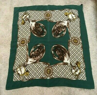 "100% silk horse scarf, equestrian theme, 33"" x 30"" dark green & gold, excellent"