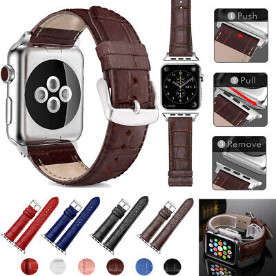 for Apple Watch Series 6 5 4 3 2 Leather Band Bracelet Strap 38mm/40mm/42mm/44mm