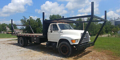 1995 Ford F700 Flatbed 7.0 Gas Engine Flat Bed Truck
