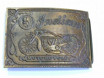 Vintage Indian Motorcycles Solid Brass Belt Buckle 1970's Collectible Buckle