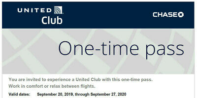 Two (2) United Airlines Club Lounge One-Time Passes - Expire SEPTEMBER 27 2020