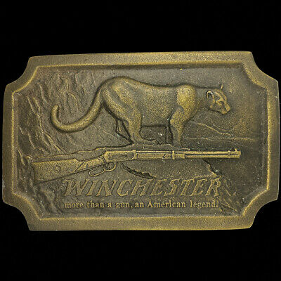 Winchester Guns Rifle Repeating Arms Cowboy Western 1970s Vintage Belt Buckle