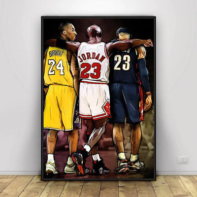 Kobe Bryant LeBron James Michael Jordan Basketball Canvas Painting Wall Poster