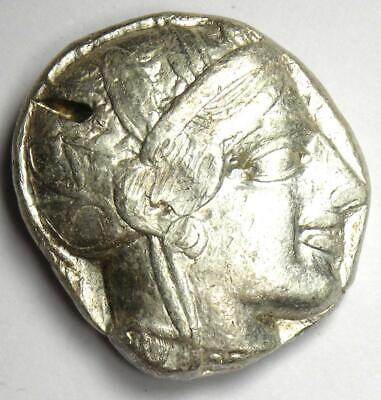 Ancient Athens Greece Athena Owl Tetradrachm Coin (454-404 BC) XF with Test Cuts