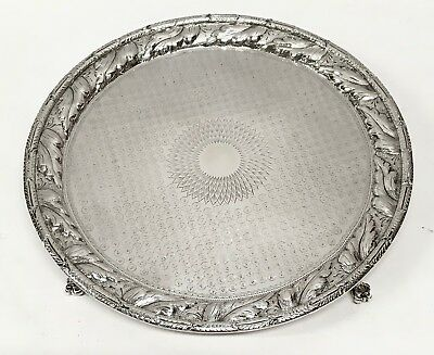 1846-1861 S Kirk & Son American Coin Silver Repousse footed Salver 10in. 606.3g