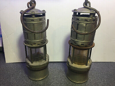 2 Antique Wolf Safety Lamp Co. Miners Lantern New York, USA Carbide