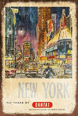 North West Airlines Advert Vintage Look Retro style Metal Sign USA New York