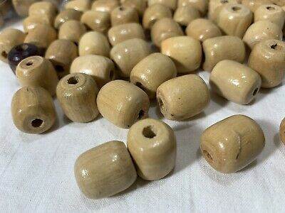 Bag of 12 Large Bamboo Look Wood Carved Grooved Macrame Plant Hanger Craft Beads 50mm 2