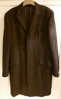 Unworn Vintage Austin Reed Mens Brown Check Overcoat 42 Long Wool 33 45 Picclick Uk