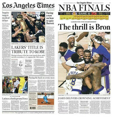 MINT 2020 LOS Angeles Lakers LA Times Championship Finals ...
