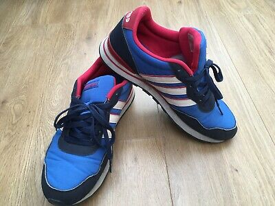 RARE ADIDAS NEO Trainers Red Blue & White Ortholite Insoles Size 8 ...