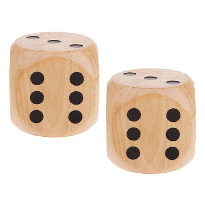 P Prettyia 2 Pieces Extra Large Wooden Dice with Rounded Corner D6 Six Sided Dies 5cm