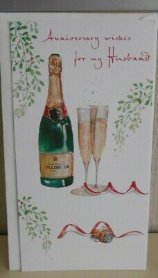 Champagne /& Roses Theme. Happy Anniversary Husband Card by Heartstrings Cards