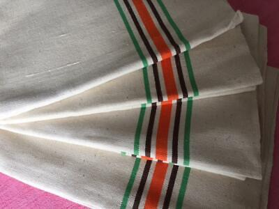 VINTAGE FRENCH UNUSED LINEN METIS TORCHON TEA TOWEL RED GREEN  STRIPES