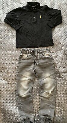 Next Black Long Sleeved Polo Top F&F Grey Ripped Jeans 5-6 Years Boys Clothes