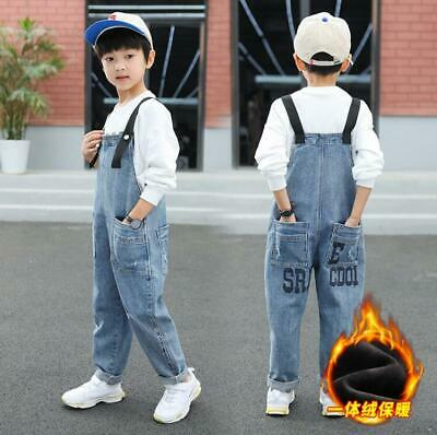 Kids Child Winter Fleece Jeans Overalls Bib Boys Warm Demin Pants Suspenders Bib