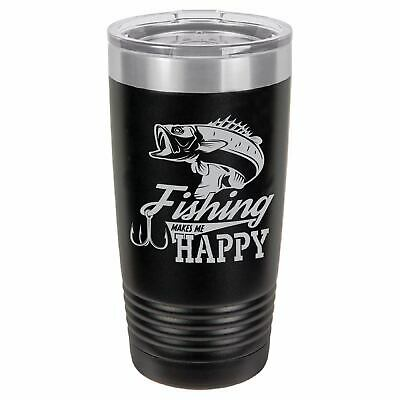 Fishing Makes Me Happy-Tumbler Cup-Insulated Tumbler 20oz.