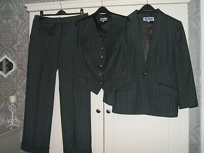 Ladies 3 Piece Grey Pinstripe Trouser Suit By Austin Reed Size 16 41 00 Picclick Uk