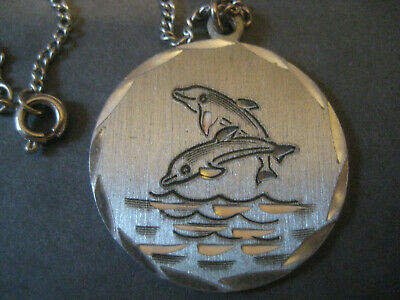 """Dolphins NECKLACE vintage Pewter pendant swimming etched waves 18"""" chain"""