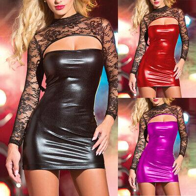 Sexy Frauen Spitze Lackleder Wet Look Mini Bodycon Kleid Dessous Clubwear Neu