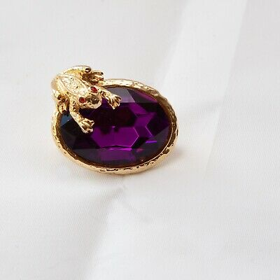 """Frog & Faux Gemstone Shaped Brooch Pin Purple & Gold Approx. 1.5"""" Long Gift"""