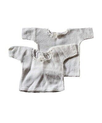 Vintage Baby Girl Handmade Knitted White Vests x2 Age 9-18 Months