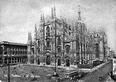 1920s Church Real Photo Italy Black and White Antique Discoveries Vintage Cathedral Postcard Gothic Milan