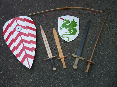 Medieval wooden shields  swords archer armor KNIGHTS movie crusader monty python